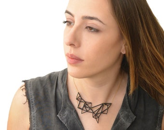 Statemant necklace, Geometric black triangle necklace, Black Acrylic abstract triangle necklace