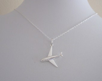 3D AEROPLANE Airplane Plane sterling silver charm necklace