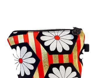 "Japanese Kimono  ""Gold Flower "" make up pouch -small/ zipper pouch/ cosmetic purse / black kimono fabric / small size pouch"