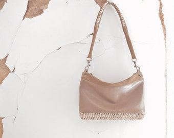 SALE Taupe Leather and Suede  Shoulder Purse with Weave Detail - OOAK - Ready to Ship