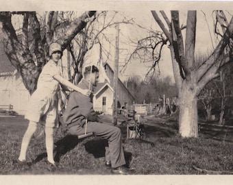 Swing With Me- 1920s Antique Photograph- Roaring 20s Couple- Flapper Girl- Cloche hat- Rope Swing- Swinging- Found Photo- Paper Ephemera