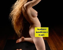 5808-DK Long Hair Nude Woman Naked on Pedestal Sexy Erotic Rapunzel Girl Photography by Chris Maher Mature Milf