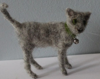 Needle Felted Gray Kitten