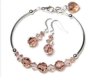 Blush Rose Swarovski Crystal Silver Beaded Bracelet and Earrings Set Romantic Heart Charm Vintage Pink Bridesmaid Wedding Jewelry For Women