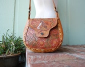 Vintage Tanned Hyde Leather Hand Tooled Horse Equestrian Woven Natural Braided Native Indian Boho Hipie Southwestern Purse Shoulder Hand Bag