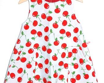 Upcycled Cherry Print Fabric Sleeveless Dress Age 3-4
