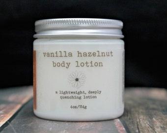 Vanilla Hazelnut Vegan Body Lotion, Natural Lotion