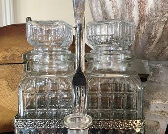 Vintage Double Pickle Castor / Glass Cruet Set / Silver Carrier - #2995
