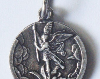 Saint Michael with Guardian Angel & Child Vintage Religious Medal Pendant on 18 inch sterling silver rolo chain