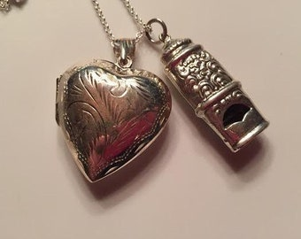 LOVE Victorian Etched Heart Locket and Repousse Whistle Sterling Charm Pendant on 18 inch sterling rolo chain