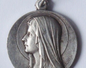 "Vintage Virgin Mary of Lourdes signed ESCUDERO Jewelry Religious Medal Pendant on 18"" sterling silver rolo chain"