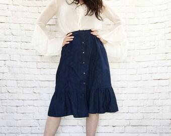 Vintage 70s Ruffled Denim Hippie Prairie Skirt XS S Anna Zapp Pearl Snaps Western Bohemian Chambray