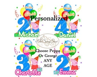 Peppa Pig Birthday Party Personalized- diy Iron On Transfer-Peppa Pig or George- Make Matching Family Shirts digital printable # 1926