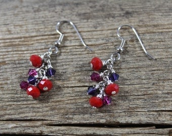 Dangle Earrings / Red Sparkly Glass / Pink and Purple Swarovski Crystal / Red Earrings / Sparkly Earrings / Gifts for Her / Gifts for Women
