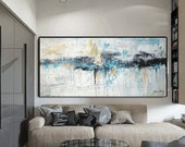 painting creme blue   abstract painting more sizes  large painting  jolina anthony
