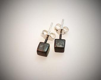 Black Sterling Silver cube stud earrings - square cube studs - silver studs - matte black studs - post earrings - tiny black silver studs
