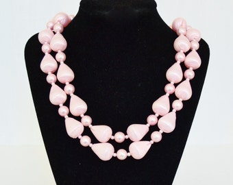 Vintage Double Stranded Necklace with Pastel Pink Plastic Beads Made in Japan