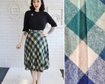 Vintage Skirt in Green Blue and Light Tan Plaid by Danskin Size XS