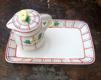 Cottage Chic Ceramic Tray Pitcher Set Made in Japan