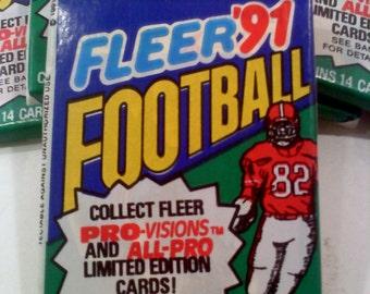 3 PACKS of Football Trading Cards, Fleer 1991