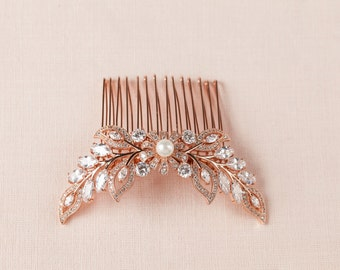 Rose gold Hair Comb, Crystal Wedding headpiece, Hair Clip, Rose Gold, Yellow Gold, Wedding Headpiece, Double Linneah Hair Comb