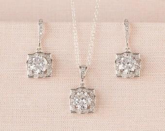 Square Bridal Necklace Bridal Wedding Rose Gold Crystal Drop Bridal necklace Swarovski Bridesmaids jewelry, Adrienne Crystal Pendant
