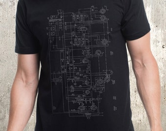 Men's T-Shirt - Old Radio Diagram - Screen Printed Men's Shirt - American Apparel