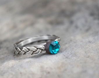 Pendragon Braided Silver Ring   |   Teal Stone   |   Size 6