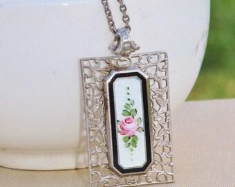 AUTHENTIC 1940s Silver Filigree Guilloche Enamel Pendant Necklace,Delicate Large Filigree Pendant,Rose,Floral,Lavaliere,Art Nouveau Art Deco