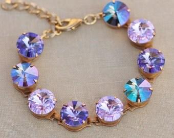 NEW Tanzanite Lilacl Purple Rainbow Swarovski Bracelet,Swarovski Large Rivoli Tennis Bracelet,12mm Rhinestone Bracelet,Unique,Stacking,Gift