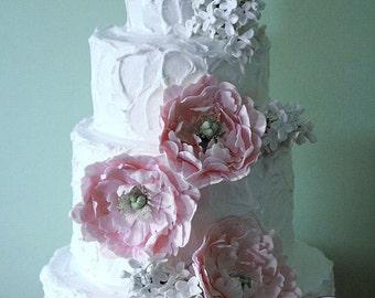 Gumpaste peonies and lilacs for wedding cake, sugar flowers, edible flowers for wedding cake toppers, DIY wedding cake decorations