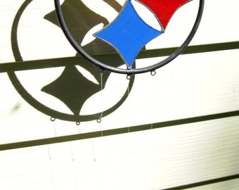 Steelers stained glass sun catcher/ wind chimes