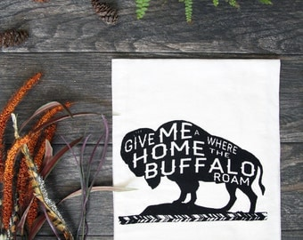 Where the Buffalo Roam - Hand Screen Printed Cotton Kitchen Towel