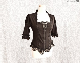 Blouse Devota, Victorian gothic black shirt, Steampunk, Devota, Somnia Romantica, size small - medium see item details for measurements