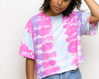 Vintage Tie Dye Shirt / 90s Pink Tie Dye Crop Top / Oversized Slouchy Cropped Tiedye Shirt Small Medium Retro 70s Hippie Boho Bohemian