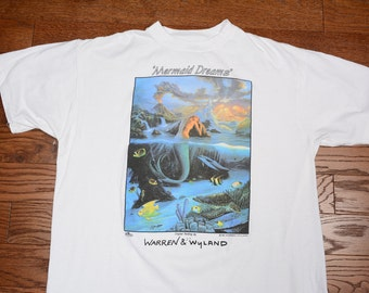 vintage 90s Mermaid Dreams t-shirt Warren & Wyland tee shirt earth lover spiritual 1990 art shirt extra large XL