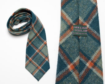 """vintage tartan plaid tie Scottish 100% wool blue green rust flannel necktie Scotland mens vintage tie vintage menswear 54""""x4"""""""