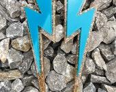 Statement Glittery Huge Lightning Bolt Turquoise Gold Laser Cut Earrings