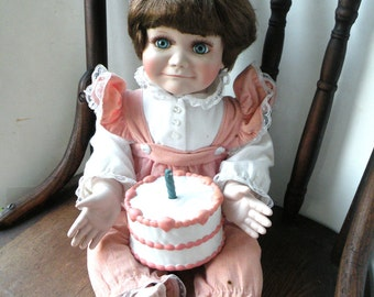 Patty Cake Doll First Birthday Cake- 1 Candle- Baby Suspenders