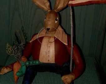 Primitive Folk Art Americana Hare Rabbit Doll for July 4th Celebration