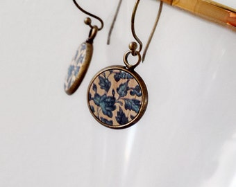 Earrings, Gorgeous printed wood inserts Set in Antiqued Brass - Ver. 2