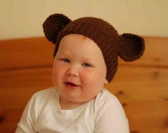 Newborn photo prop, monkey newborn hat, Newborn boy, newborn girl,baby hat, baby props, newborn knit hats, newborn props, brown newborn hat