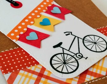 BICYCLE Valentine's Day Card, Valentine Gift, Card for Friend, Amazing Friend,  Birthday Gift, Cycle Plaid Polka Dot Tag, Kraft Card