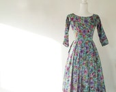 1950s Pink Floral Fit and Flare Day Dress 50s Vintage 1960s Multicolor Purple Aqua Cotton 60s Full Pleated Skirt Small XS Garden Party Dress