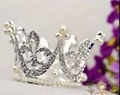 baby crown, rhinestone crown, pearl crown, newborn photo prop, flower girl crown, baby show gift, infant crown