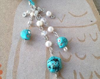 Turquoise Skulls Bookmark Beaded Book Thong Southwestern Stone Crystal Book Club