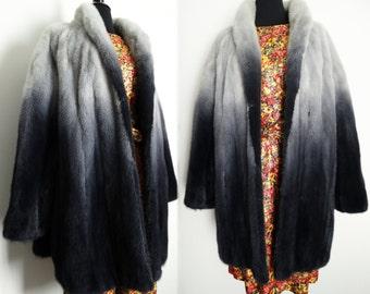 Vintage Mink Coat//Degrade//Mink Fur//Phillips Reiner Furs//Silver//Dark Silver//Black//Graduating Color//Mink Jacket//Original//Plus Size