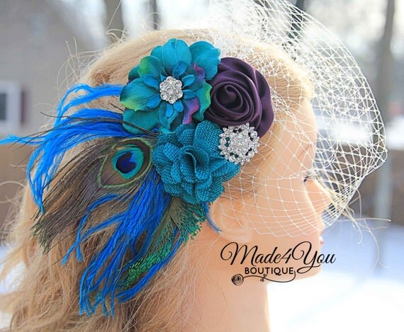 Peacock Wedding Headpiece- Turquoise and Plum Bridal Veil- Wedding Birdcage Veil