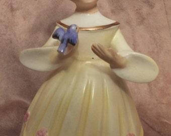 Schmid Brothers Bluebird Girl Figurine Music Box  Vintage Musical Girl Figurine