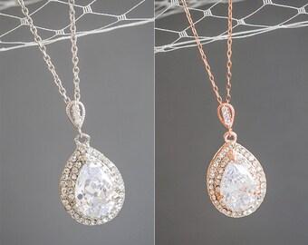 Bridal Necklace, Crystal Wedding Necklace, Rose Gold Necklace, Teardrop Pendant Necklace, Sterling Silver Necklace, Bridal Jewlery, LYNN